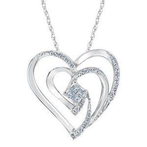 Princess and round love diamond heart pendant whit